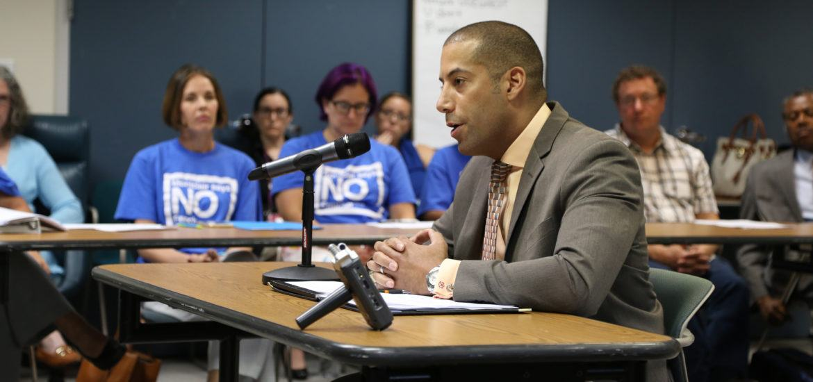 NJEA Secretary-Treasurer Sean M. Spiller testified in opposition to any approval of a French-immersion charter school at the State Board of Education meeting on Sept. 7, 2016.