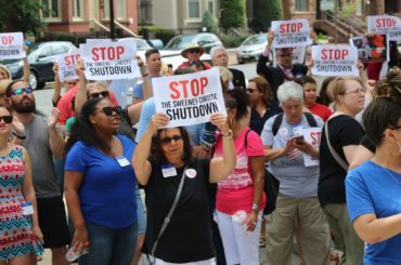 "NJEA members: ""End the Christie-Sweeney shutdown"""