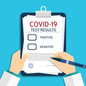 Form of covid report. Medical checklist with laboratory clinical result of coronavirus after test. Doctor registered, record virus after analysis. Checkup of health. Man writing prescription. Vector