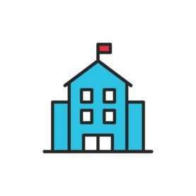 School Building Line Icon. Editable Stroke. Pixel Perfect. For Mobile and Web.