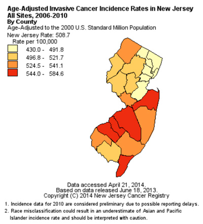Age-adjusted Cancer Incidence Rates in NJ